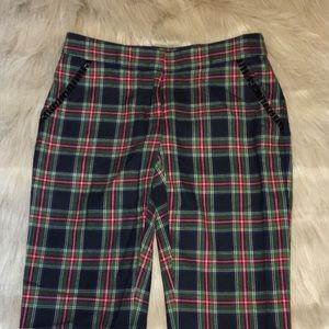Vineyard Vines Plaid Beaded Wool Cropped Pants 00